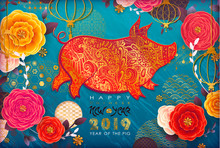 Chinese New Year 2019. Zodiac Pig. Happy New Year Card, Pattern, Art With Animal. Paper Cutting Hand Drawn Vector Illustration. Chinese Traditional Design, Golden Decoration.