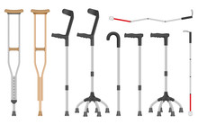 Crutches Icon Set. Realistic S...