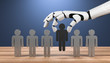 canvas print picture - 3D Illustration Roboterhand Menschen ersetzen