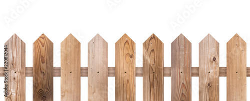 Fotografie, Obraz  Brown wooden fence isolated on white background with parallel plank old