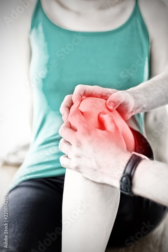 Cuadros en Lienzo Composite image of emerging man doing fitness exercises with a