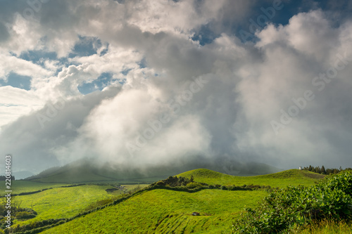 Spoed Foto op Canvas Bleke violet Wonderful hills and fields landscape in Sao Miguel, Azores Islands