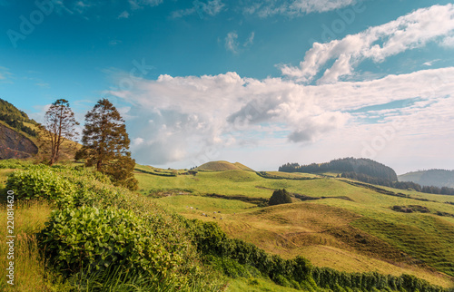 Poster Donkergrijs Wonderful hills and fields landscape in Sao Miguel, Azores Islands