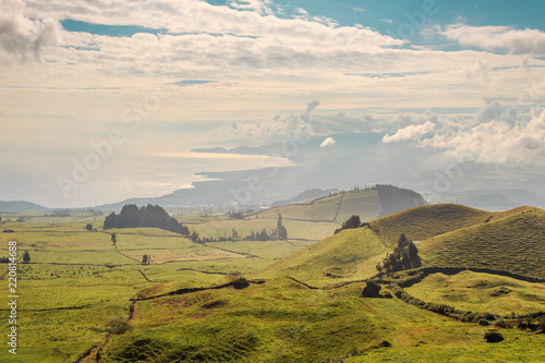 Wonderful hills and fields landscape in Sao Miguel, Azores Islands
