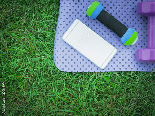 Fotografia  healthy lifestyle and outdoor concept from exercise object with flat lay dumbbel