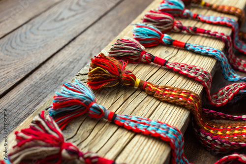 Fotografija  Colored wicker belt, boho style, macrame, handmade