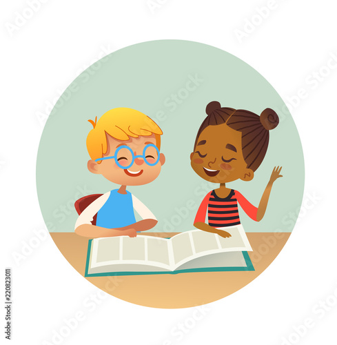 Foto  Smiling multiracial boy and girl reading books and talking to each other at school library