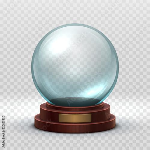 Fototapeta Christmas snowglobe. Crystal glass empty ball. Magic xmas holiday snow ball vector mockup isolated. Illustration of dome souvenir transparency, sphere ball transparent glossy obraz