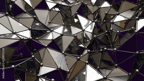 metalowe-czarne-tlo-z-trojkatow-i-krysztalow-3d-ilustracja-3d-rendering