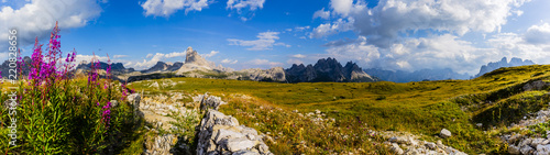 Foto auf Leinwand Gebirge Tre Cime di Lavaredo, Drei Zinnenin beautiful panorama with willowherb and surroundings in autumn scenery, the Dolomites in Italy, Europe.