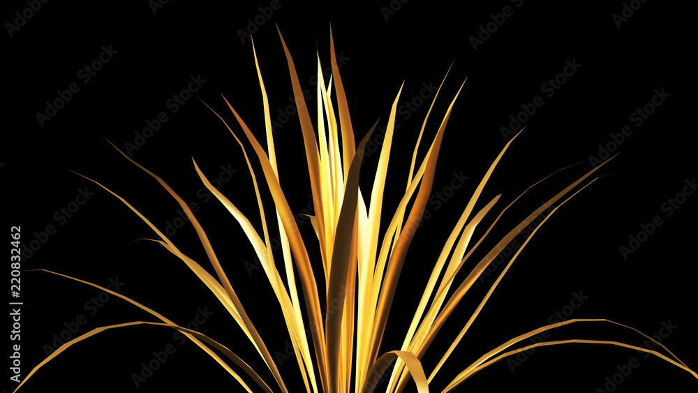 Gold flower paper and grass. 3d illustration, 3d rendering.