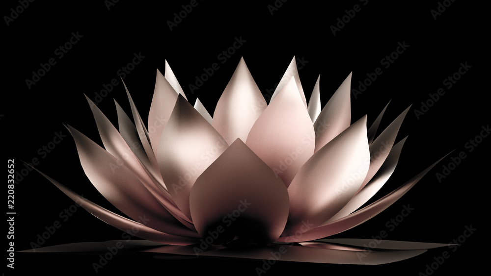 Gold flower paper and grass. 3d illustration, 3d rendering.