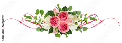 Horizontal arrangement with pink roses, freesia flowers, eucalyptus leaves and sarin ribbons