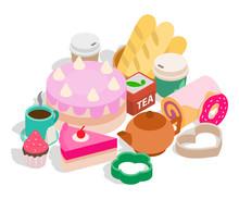 Tea Sweets Clip Art. Isometric...