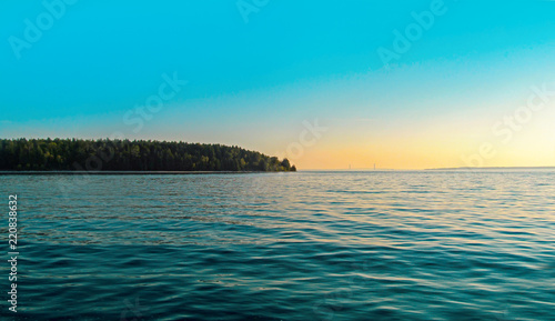 Foto op Aluminium Eiland Mackinac Island in Michigan, USA. Summer day landscape, panoramic view with blue sky in Great Lakes region of North America.