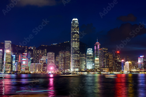 Staande foto Hong-Kong Hong Kong cityscape view from Victoria harbor at night