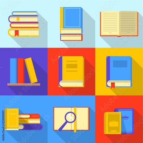 Bookshelf icons set Poster Mural XXL