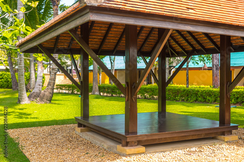 Obraz na plátně beautiful wooden gazebo in tropical nature in Thailand