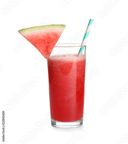 Tasty summer watermelon drink in glass on white background