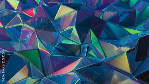 Fototapety, obrazy: Stylish multi-color crystal background. 3d illustration, 3d rendering.