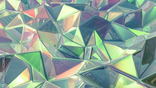 Fototapety, obrazy: Stylish green crystal background..3d illustration, 3d rendering.