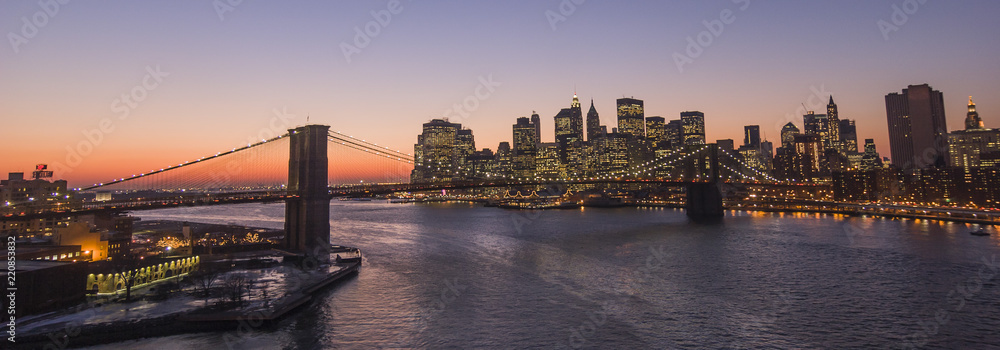 Fototapety, obrazy: New York - Brooklyn Bridge and Lower Manhattan