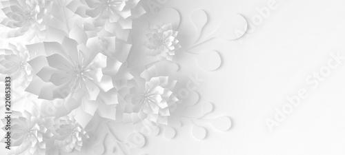 Naklejki abstrakcyjne  paper-flowers-3d-illustration-3d-rendering