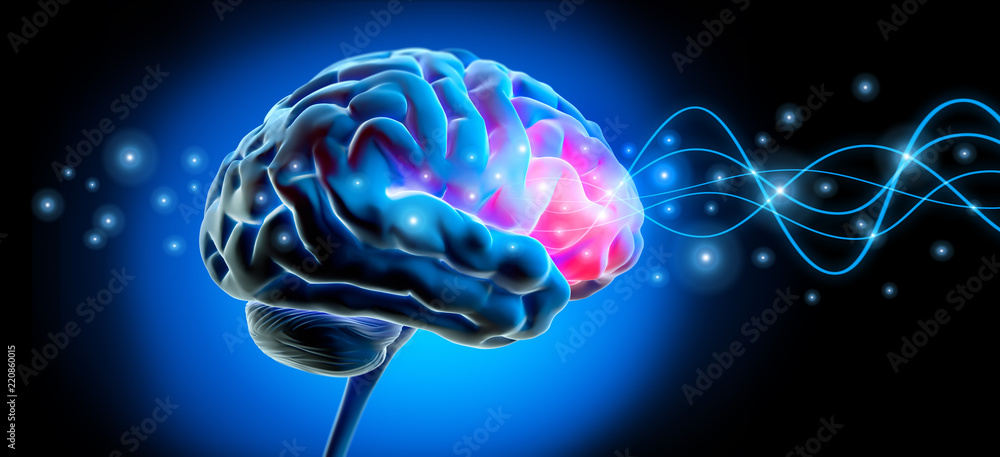 Fototapety, obrazy: Gehirn mit Impuls - Stimulation
