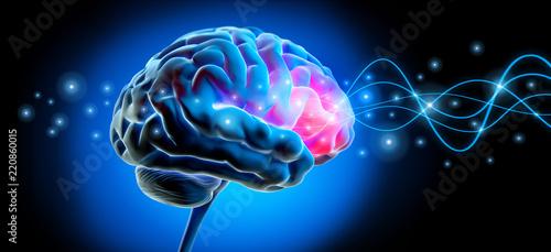 Fotografie, Tablou  Gehirn mit Impuls - Stimulation