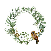 Herbs And Owl Wreath Watercolo...