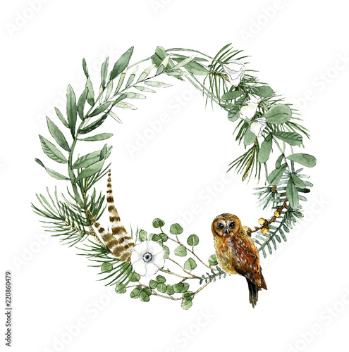 Photo Stands Owls cartoon Herbs and owl wreath watercolor summer and spring illustration for decor a postcard, icon, logo, badge, posters, lettering, invitations and etc.