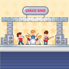 Garage Rock Band Concept Background. Cartoon Illustration Of Garage Rock Band Vector Concept Background For Web Design