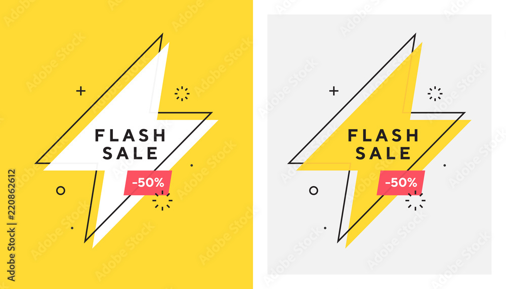 Fototapeta Trendy vector flash sale banne. Vivid lightning bolt in retro poster design style. Vintage colors and shapes. Red and yellow colors. 90s or 80s memphis style.