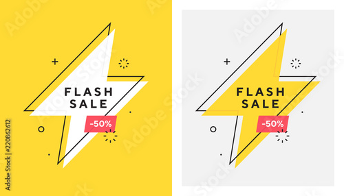 Obraz Trendy vector flash sale banne. Vivid lightning bolt in retro poster design style. Vintage colors and shapes. Red and yellow colors. 90s or 80s memphis style. - fototapety do salonu