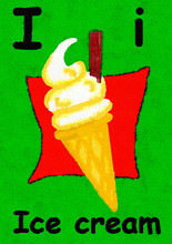 I Is For Ice Cream. Watercolou...