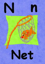 N Is For Net. Watercolour Cart...