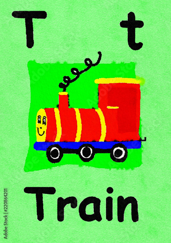 T is for Train  Watercolour cartoon painting of a toy train