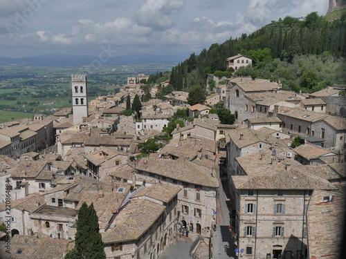 Poster Monument Assisi - panorama dal campanile della cattedrale San Rufino