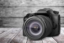 Black Camera Isolated On White...