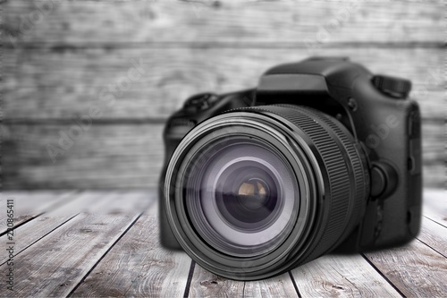 Black camera isolated on white background Canvas Print