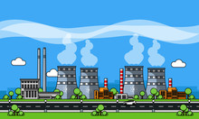 Nuclear Power Plant Line Vecto...