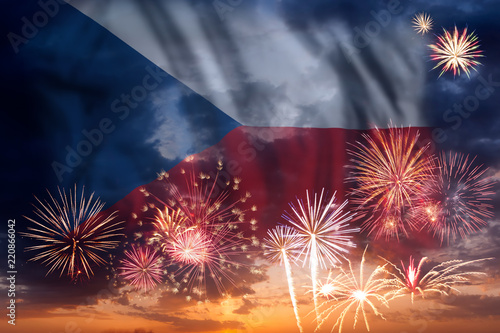 Photo  Fireworks and flag of Czech Republic