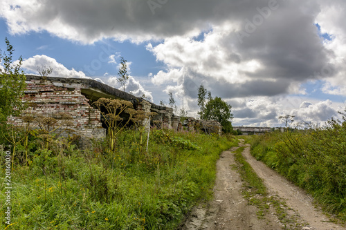 Tuinposter Rudnes Abandoned agricultural buildings near the village of Muya in the Leningrad region.