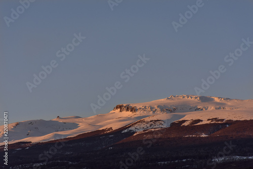 Photo  Alpenglow Over Andes Mountains In Patagonia