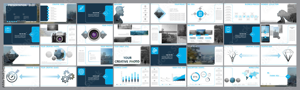 Fototapeta Original presentation templates. Set of blue, elements of infographics, white background. Flyer,postcard, corporate report, marketing,advertising,banner.Slide show, photo, slide for brochure,booklet