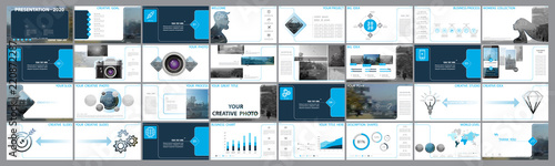 Fototapeta Original presentation templates. Set of blue, elements of infographics, white background. Flyer,postcard, corporate report, marketing,advertising,banner.Slide show, photo, slide for brochure,booklet obraz