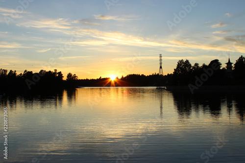 Poster Lieux connus d Amérique Beautiful sunset view of Humallahti in Töölö, Helsinki, Finland