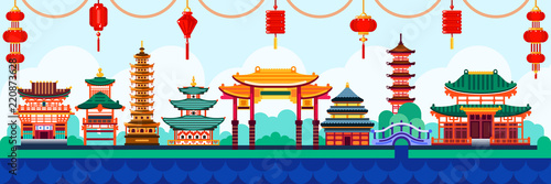 Chinese town design elements. Travel to China vector flat illustration. Traditional pagoda and lanterns background