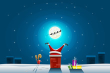 Funny Card - Merry Christmas And Happy New Year, Santa Claus Stuck In The Chimney On Roof
