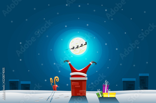 Fotografie, Obraz  Funny card - Merry Christmas and Happy New Year, Santa claus stuck in the Chimne